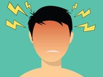Migrena ilustracyjni mężczyzna z czerwieni głową royalty ilustracja