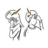 Migrena, migrena R?ka rysuj?ca wektorowa ilustracja Kresk?wka styl ilustracja wektor