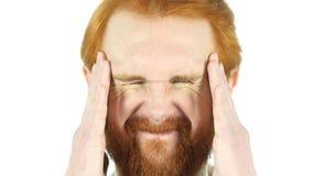 Migrena, sfrustowany Czerwony Włosiany broda mężczyzna zakończenie Up zdjęcia stock