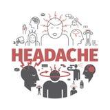 Migrena sztandar objawy Wektorów znaki dla sieci Zdjęcia Stock