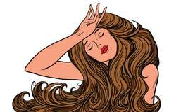 Migreny kobieta lub sen właśnie ilustracja wektor