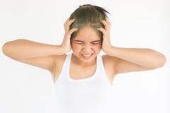 Migreny kobieta lub stres kobieta Zdjęcie Royalty Free