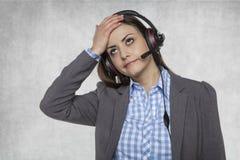 Migreny ot ten praca w centrum telefonicznym Obraz Royalty Free