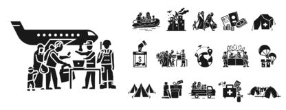 Migrerende pictogramreeks, eenvoudige stijl vector illustratie