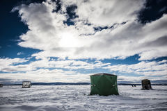 Ice Smelt Fishing Shack during a Cold but Sunny Day of Winter in. Miguasha, Canada - January 22, 2017. Ice Smelt Fishing Shack during a Cold but Sunny Day of stock image