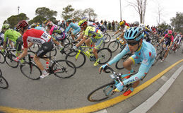 Miguel Angel Lopez of Astana Team rides with the pack Royalty Free Stock Photos