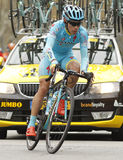 Miguel Angel Lopez of Astana Team. Rides during the Tour of Catalonia cycling race through the streets of Monjuich mountain in Barcelona on March 27, 2016 Royalty Free Stock Photo