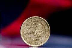 Miguel Cervantes på euromynt Fotografering för Bildbyråer