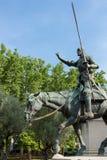 Miguel Cervantes zabytek - Przywdziewa Quijote Panza i Sancho, Madryt Obrazy Royalty Free