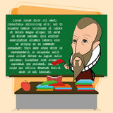 Miguel De Cervantes Cartoon In una escena de la sala de clase stock de ilustración