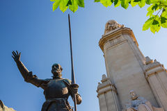Miguel de Cervantes monument in Madrid Stock Photography