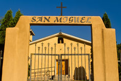 Miguel-katholische Kirche, Abiquiu, New-Mexiko Stockfotografie