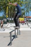 Miguel Pinto durante la sfida del pattino di CC Fotografie Stock