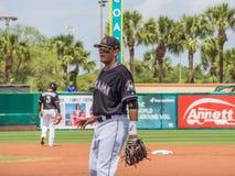 Miguel Rojas Miami Marlins baseball 2017 Royaltyfria Foton