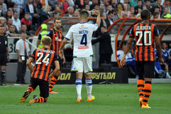 Miguel and Shakhtar players Royalty Free Stock Photos
