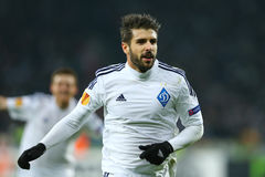 Miguel Veloso portrait while he celebrates scored goal, UEFA Europa League Round of 16 second leg match between Dynamo and Everton Royalty Free Stock Photography