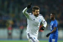 Miguel Veloso viert genoteerd doel, de Ligaronde van UEFA Europa van 16 tweede beengelijke tussen Dynamo en Everton Stock Fotografie