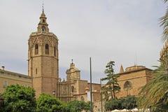 Miguelete is de klokketoren van Valencia Cathedral in Spanje stock afbeelding
