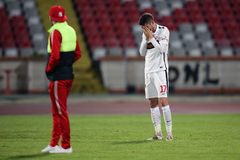 Miha Mevlja shocked after his teammate, Patrick Ekeng died on the football pitch Stock Photography