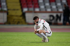 Miha Mevlja shocked after his teammate, Patrick Ekeng died on the football pitch Royalty Free Stock Photography