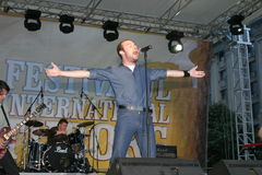 Mihai Emil Georgescu. Vocal at the romanian band Bere Gratis stock photography