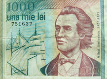 Mihai eminescu. On 1000 lei banknote Royalty Free Stock Photos