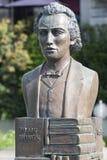 Mihai Eminescu statue in Vevey, Switzerland stock image