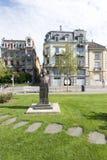 Mihai Eminescu statue in Vevey, Switzerland stock images