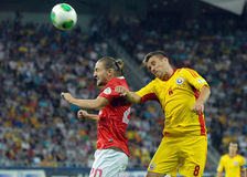 Mihai Pintilii and Caner Erkin players in Romania-Turkey World Cup Qualifier Game Royalty Free Stock Photos