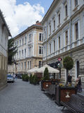 Mihail Sadoveanu street in Brasov, Romania stock photography