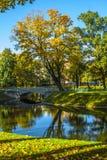 Mihailovsky公园的Autumn湖在圣彼得堡 库存图片