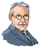 Mihajlo Pupin. Vector illustration of famous Serbian and world scientist Stock Images