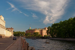The Mihajlovsky lock. Kind on the Mihajlovsky lock and quay of the river of Fontanka in the city of St.-Petersburg Royalty Free Stock Photos