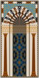 Mihrab - halvcirkelformig nisch med den Marocko modellen royaltyfri bild