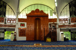 Mihrab of Negeri Sembilan State Mosque in Negeri Sembilan, Malaysia. SEREMBAN, MALAYSIA – FEBRUARY 14, 2014:  Negeri Sembilan's state mosque. It is located Royalty Free Stock Photography
