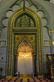Mihrab prayer niche Sultan mosque Singapore. The mihrab and imam's pulpit area at the Sultan Masjid mosque, Singapore. Mihrab is a semicircular niche in the wall stock photos