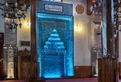 Mihrap ha fatto con le mattonelle blu Fotografie Stock Libere da Diritti