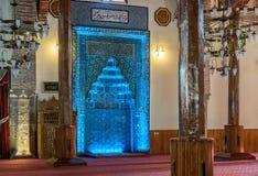 Mihrap ha fatto con le mattonelle blu Fotografia Stock