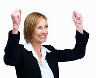 Miiddle aged female lawyer rejoicing success Stock Image