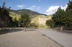 The Mijares river passing through the village of montanejos. In Castellon stock photos