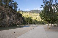The Mijares river passing through the village of montanejos. In Castellon stock photo