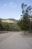 The Mijares river passing through the village of montanejos. In Castellon stock images