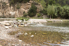 The Mijares river passing through the village of montanejos. In Castellon royalty free stock images