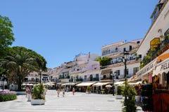 MIJAS ANDALUCIA/SPAIN - JULI 3: Sikt av Mijas Andalucia Spanien fotografering för bildbyråer