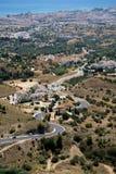 MIJAS ANDALUCIA/SPAIN - JULI 3: Sikt från Mijas i Andalucia Royaltyfri Bild