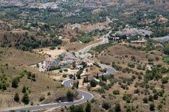 MIJAS ANDALUCIA/SPAIN - JULI 3: Sikt från Mijas i Andalucia Arkivbild