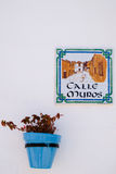 MIJAS, ANDALUCIA/SPAIN - JULY 3 : Blue Flower Pot in Mijas   And Stock Photo