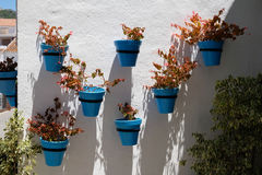 MIJAS, ANDALUCIA/SPAIN - JULY 3 : Blue Flower Pots in Mijas   An Stock Photos