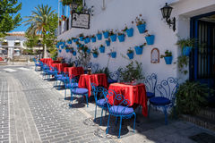 MIJAS, ANDALUCIA/SPAIN - JULY 3 : Typical Street Cafe in Mijas. Andalucia Spain on July 3, 2017. Unidentified people Royalty Free Stock Photo