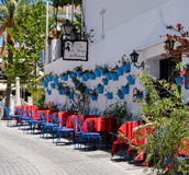 MIJAS, ANDALUCIA/SPAIN - JULY 3 : Typical Street Cafe in Mijas Royalty Free Stock Image